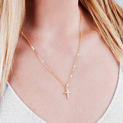 Minimalist Gold Cross Necklace - 16 inch + 2 inch extending chain - Designer Handmade Christian Gift
