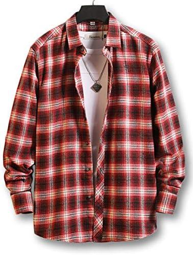 [ルクシア フィル] メンズ チェック柄 フランネル シャツ お洒落 カジュアル レギュラーフィット 長袖 ネルシャツ ポケットなし タイプ