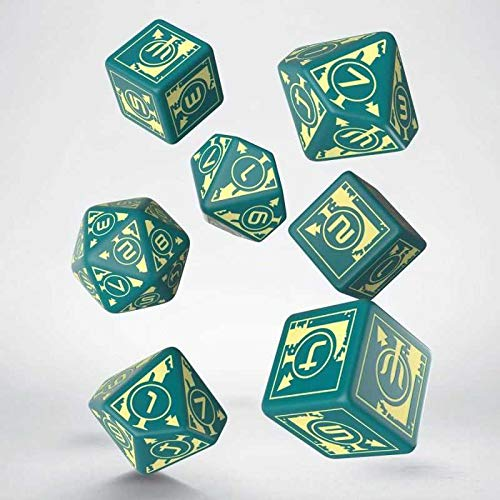 Q-Workshop QWOPOL94 Polaris RPG Turquoise & Light Yellow dice 3D6 +3D10 + 1D20 (7), Mehrfarbig Pegasus Spiele