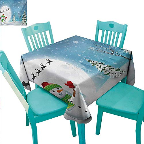 Christmas Square Polyester Tablecloth Jolly Snowman under Full Moon Waving to Santa Claus with Reindeer Sleigh Kids Washable Polyester - Great for Buffet Table, Parties, Holiday Dinner, Wedding & Mor