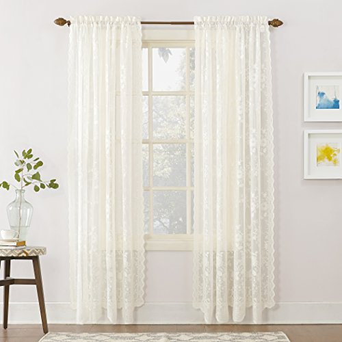 "No. 918 Alison Floral Lace Sheer Rod Pocket Curtain Panel,Ivory Off-White,58"" x 84"""