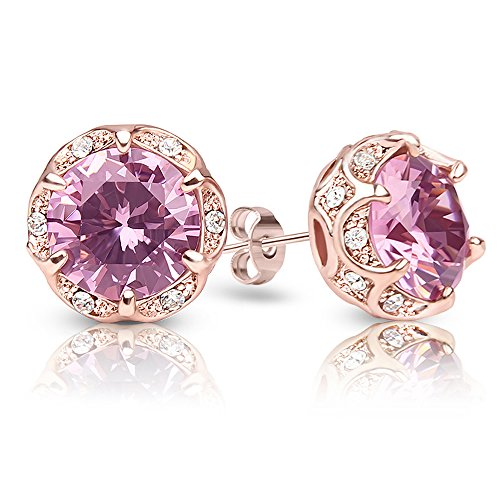 Crystal Round Fashion (Jardme Crown Shape Crystal Round earring stud White Cubic Zircon Earring Stud (Pink))