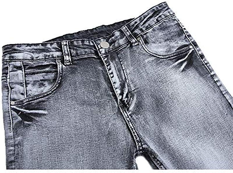 BEECM męskie spodnie jeansowe Mid-Waist stretch Slim spodnie jeansowe stylowe retro prane dżinsy: Odzież
