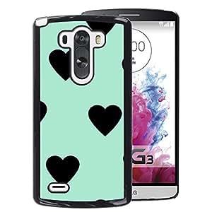 A-type Arte & diseño plástico duro Fundas Cover Cubre Hard Case Cover para LG G3 (Heart Teal Mint Green Black Pattern)