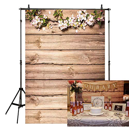 Allenjoy 5x7ft Thin Vinyl Wood Backdrop Antique Wooden Plank Board Floral Branch Petals Background Photography Decoration