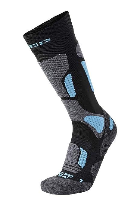 XAED - Calcetines de esquí para mujer (negro/azul claro, 35/37