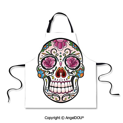 SCOXIXI Kitchen Bib Apron with Adjustable Neck Spooky Sugar Skull with Pink Roses Twigs Blooms Teeth Smile Halloween Decorative for Indoor Outdoor Waterproof Durable.]()