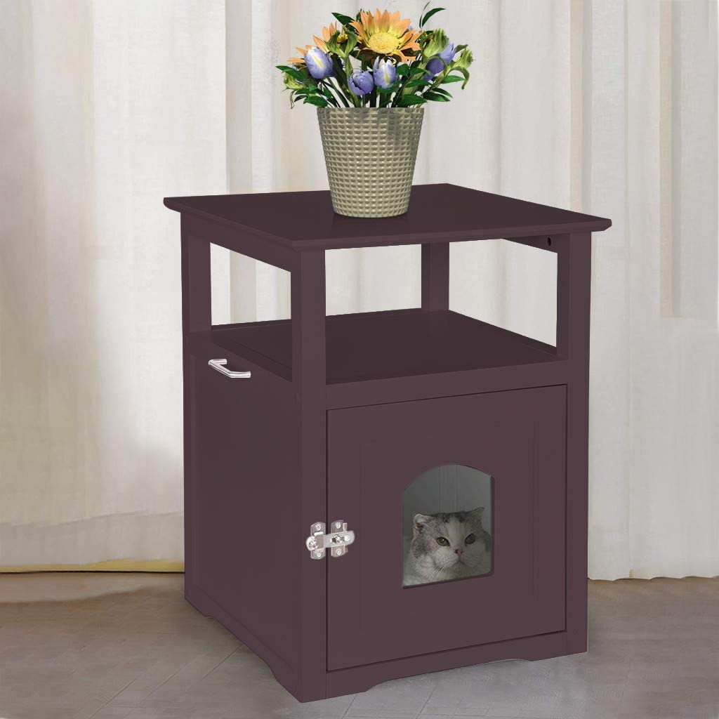 Casual Home Wooden Pet Crate Decorative Cat House Side Table Pet Nightstand Crate Sleep and Enjoy The Cat's Company Cat Washroom Night Stand Indoor Pet Crate Litter Box Enclosure (Brown)