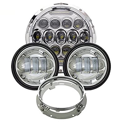 AUSI Chrome 7 Inch Daymaker Replacement Harley LED Headlight + 4.5 Inch Fog Lamps FIT Harley Davidson Motorcycle Dyna Switchback Electra Glide Softail Fat Boy Softail Heritage Touring
