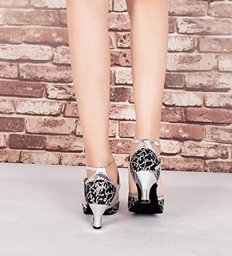Femme Tango Femme Synthétique De En Flowersilver Samba Heel 6cm Cuir Chaussures Danse Salsa Maille Pour Meijili Et IC4Swx