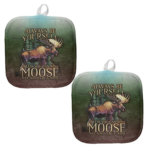 Bullwinkle And Rocky Merchandise - Always Be Yourself Unless Moose All Over Pot Holder (Set of 2) Multi Standard One Size