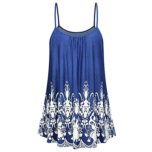 Vickyleb Sexy Vest for Women Sleeveless Camisole Top Summer Printing Shirts Ladies Sling Top Casual Tank T-Shirt Blue by Vickyleb Women Shirts (Image #3)