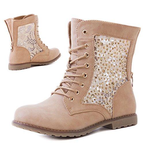 Marimo Women's Boots #Glitzer Khaki 3uG7x55