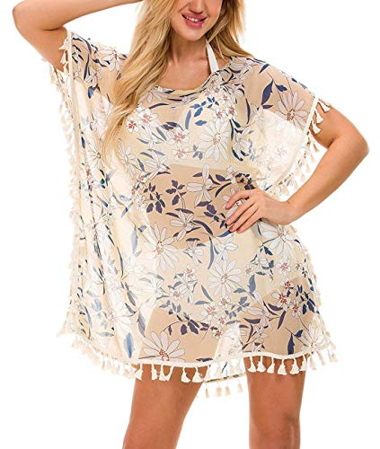 Multitrust Women Perspective Stripe Print Tassel Swimsuit Cover Up Dress Kaftan Bikini Swimwear Cover-Ups (Brown)