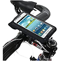 BM WORKS Slim3 Bike Mount Large Size Black - Secure Bicycle Phone Case Holder with Plug Holes for Earplugs For iPhone 6 Plus, 6 , Google Nexus 6 , Samsung Galaxy S5, Note 4, 3 , HTC Desire Eye, One (M8), Desire 820, Desire 816, Motorola Droid Turbo, LG G3