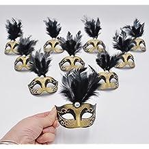 Yiseng Small Masquerade Masks Party Decoration 12pcs Luxury Pearl Feather Mini Masks Mardi Gras Novelty Gifts