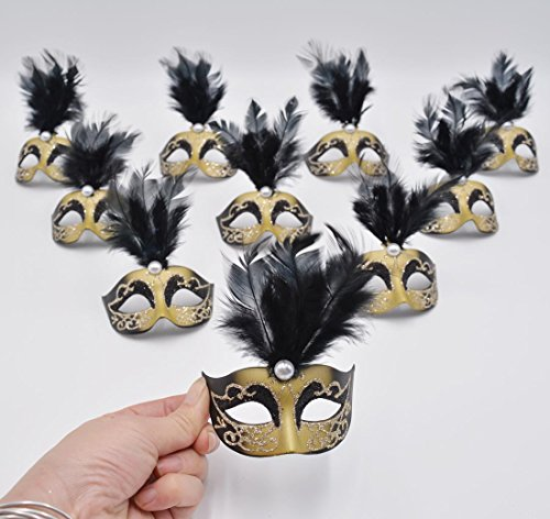 Yiseng Mini Masquerade Masks Party Decorations 12pcs Pack Luxury Pearl Feather Mardi Gras Small Venetian Black Mask Decor Party Favors ()