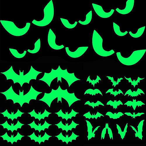 47Pcs Halloween Glow in The Dark Window Decals Luminous Stickers Glasses Stickers Bat Wall Stickers Night Glow Decals Halloween Theme Party