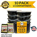 Bolt Goods 2 Compartment DUO Meal Prep Containers (10 Pack 30 Ounce) BPA-Free USA Made Reusable Washable Freezer Microwave Dishwasher Safe, Food Storage Bento Box Bowl with Leak Proof Airtight Lids