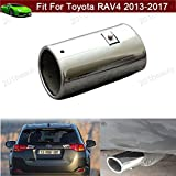 Car Truck Modification Chrome Stainless Steel Exhaust Rear Tail Pipe Tip Tailpipe Muffler Pretector Silver Color Custom Fit For Toyota RAV4 2013 2014 2015 2016 2017