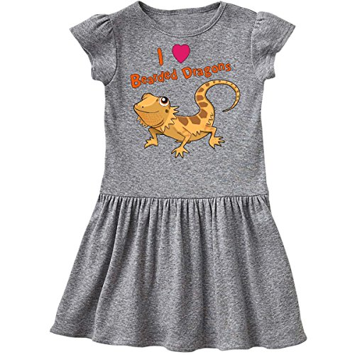 inktastic Love Bearded Dragons Toddler Dress 2T Heather Grey 28867