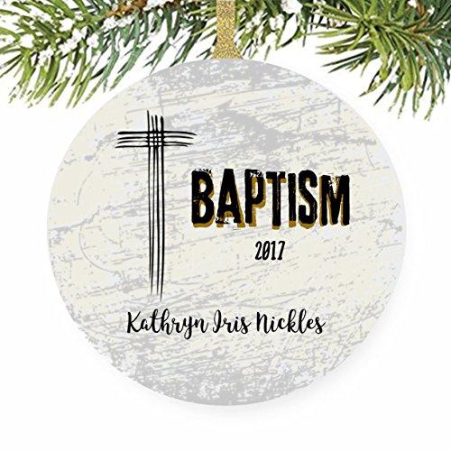 Christian Baptism Christmas Tree Ornament (John Deere Favor)