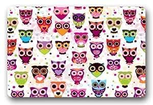 Kijian Fashion - Felpudo corto, diseño de búhos de dibujos animados, tejido de felpa, para interiores y exteriores, 60 x 40 cm