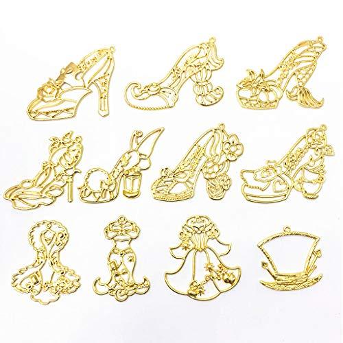 (EHOO Pendant Tray - 10Pcs Princess High Heels Frame Pendant Open Bezel Setting UV Resin Jewelry)