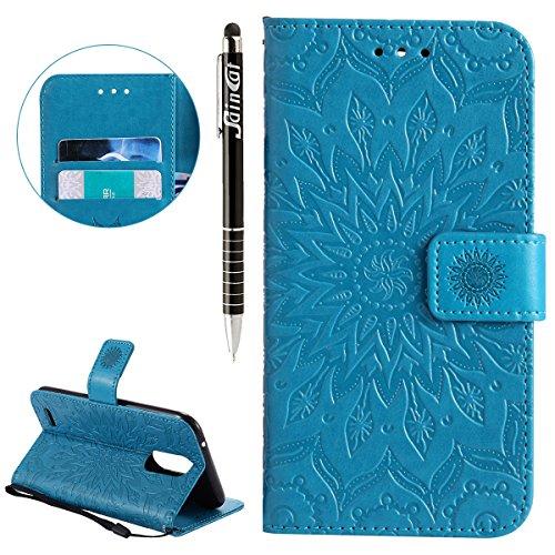 Funda LG K10 2017,SainCat Funda de cuero sintético tipo billetera con de Suave PU Carcasa Con Tapa y Cartera,Elegante Estuche Caja,Pintado en relieve árbol Cuero de la PU Leather Cubierta Plegable Fli Azul