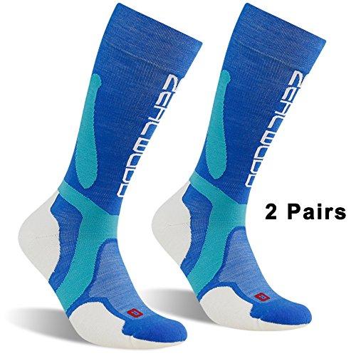 Warm Wool Ski Socks, ZEALWOOD Men's Women's Knee High Merino Wool Snowboard Socks Outdoor Winter Ultra Warm Socks,Over-the-Calf Hiking Compression Running Socks-Blue White,Medium