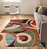 "Calm Chaos Multi Red Modern Casual Geometric Area Rug 8×10 8×11 ( 7'10"" x 10'6″ ) Easy Clean Stain Fade Resistant No Shed Contemporary Abstract Funky Fun Boxes Shapes Lines Swirls Living Dining Room For Sale"