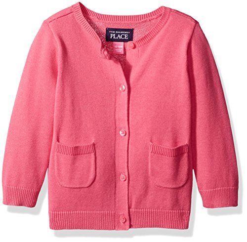 The Children's Place Girls' Cardigan Sweater, Tropical Rose, 18-24 Months