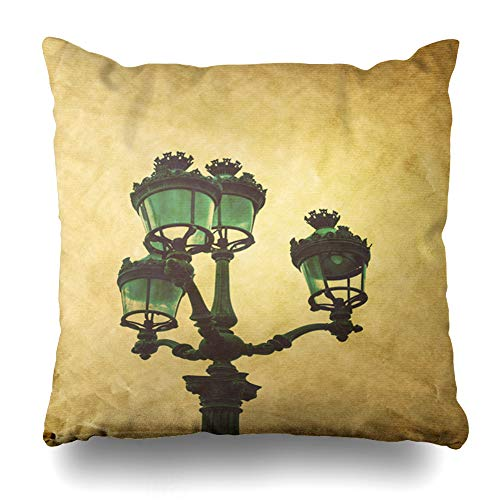 (Ahawoso Throw Pillow Cover Lamppost Blue Carvings Antique Lampstand Parisfrance Europe God Vintage Castle France French Gard Home Decor Pillow Case Square Size 16x16 Inches Zippered Pillowcase)