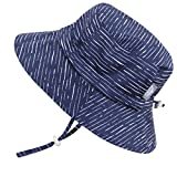 Cute Newborn Baby Boy Breathable Summer Sun Hat 50 UPF, Adjustable & Foldable (S: 0-9m, Bucket Hat: Navy Waves)