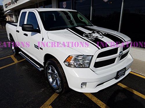 - Hemi Dodge Ram Hood Stripe Truck Decals Mopar Stickers Racing Graphics (Black)