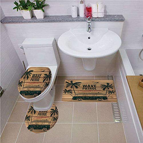 Bath mat set Round-Shaped Toilet Mat Area Rug Toilet Lid Covers 3PCS,Surf,Vintage Minivan with Tropical Trees on Wooden Planks Freedom Fun Wave Weekend Theme,Brown Teal ,Bath mat set Round-Shaped Toil