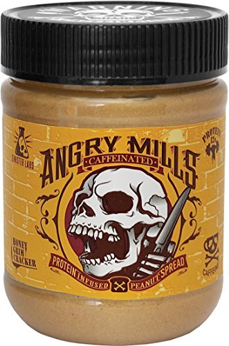 Angry Mills Whey Protein Isolate-infused PEANUT Spread by Sinister Labs - CAFFEINATED - (12 oz jar) (Honey Grim Cracker, 1-pack)