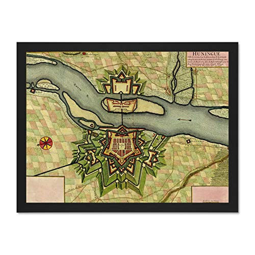 Wee Blue Coo Map Old Vintage Huningue Alsace France Rhine River Town Large Framed Art Print Poster Wall Decor 18x24 inch (River Rhine Framed)
