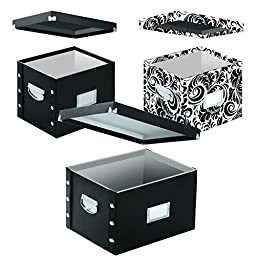 Snap-N-Store Combo 3-Pack, Includes 1 Letter/Legal Size and 2 Letter Size File Boxes, Black/Scroll (SNS01950)