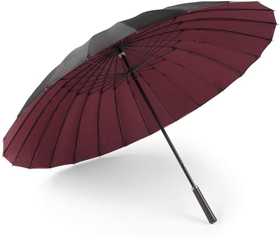 Jian E 24 Bone Double Umbrella Long Handle Large Double Male and Female Straight Umbrella Umbrella Rain Dual-use Umbrella Business Color : Burgundy