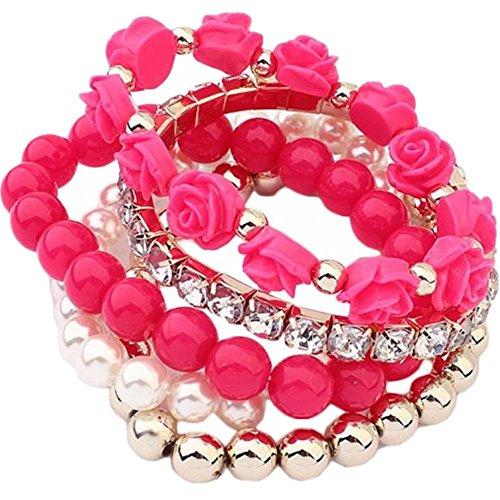 Acrylic Necklace Pearl (Willsa Rose Flower Round Pearl Shiny Rhinestone Elastic Acrylic Bracelet 1 Set (Hot Pink))