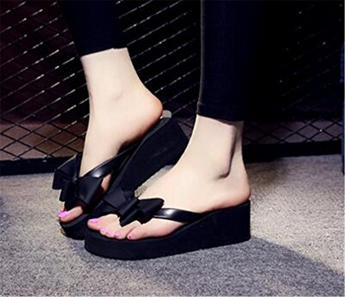 Bow Styles amp; Bottom Slippers Slope Sandals Beautiful Colours skid Thick Boowhol Women's Various knot Anti Flip Fashion Black Flops wvaxyIgZ