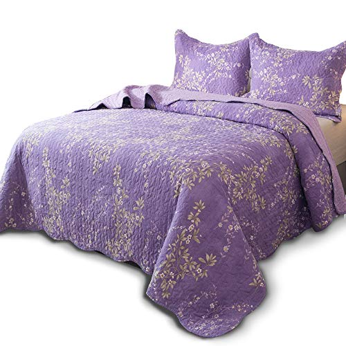 KASENTEX Country-Chic Printed Pre-Washed Quilt Set - Microfiber Fabric Quilted Pattern Bedding (Purple Floral, Twin + 1 Sham) (Printed Twin Set)