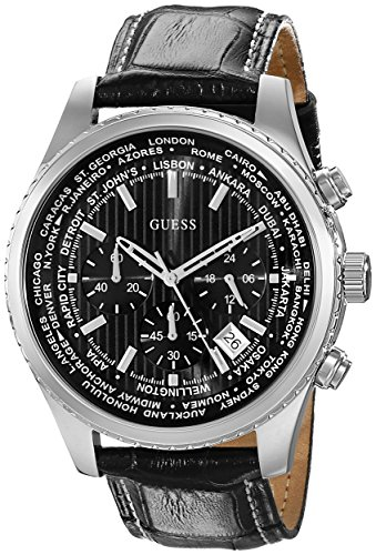 GUESS Men's U0500G2 Stainless Steel Chronograph Watch with Black Genuine Leather Strap & Date Function