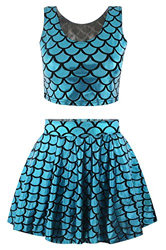 Girl's Fish Scale Print Flare Pleated Skirt Reversible Tank Top Set Mermaid Blue (Mermaid Outfit For Women)