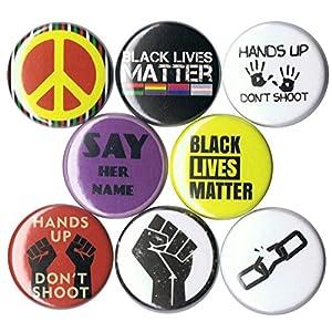 Set of 8 Black Lives Matter 1″ Buttons/Pins