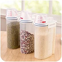 Teanfa 2KG Portable Plastic Food Grain Cereal Flour Storage Box Dispenser Rice Container Sealed Tank with Measuring Cup