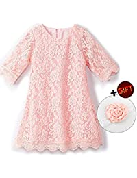 Girls Lace Flower Dress Casual Crew Neck Floral A-Line...