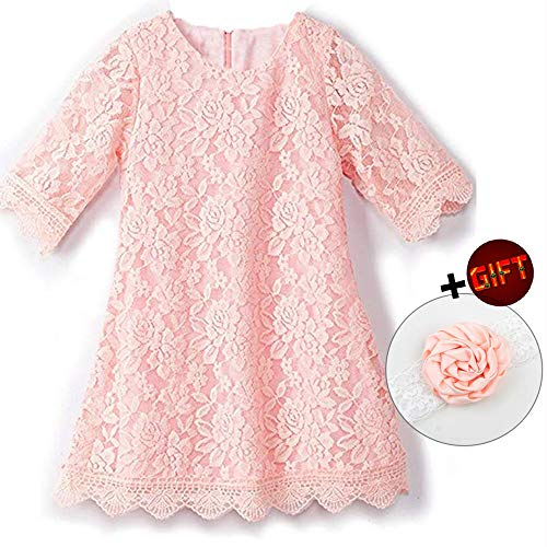 Big Dresses for Girls 7-16 Lace Flower Vintage Dress Size 9-10 Big Girl Halloween Christmas Party Pageant Dress Sleeveless Floor Length Bridesmaid Princess Dress for Juniors (Pink 170)