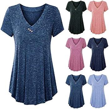 Zippem Women Casual V-Neck Short Sleeve Solid Top